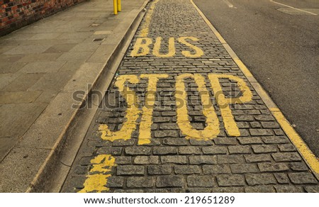 Bus line in England - vintage - stock photo