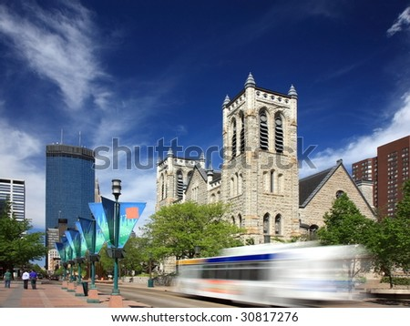 Bus moving on Nicollet Mall street in downtown Minneapolis - stock photo