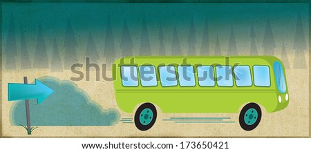 Bus on a road through forest.