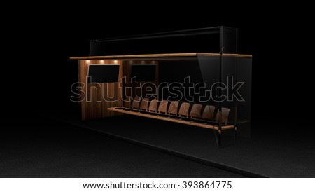 Bus or taxi stop premium at night with empty display  - stock photo