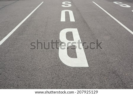 Bus parking area in the city of Halle / Saale - stock photo