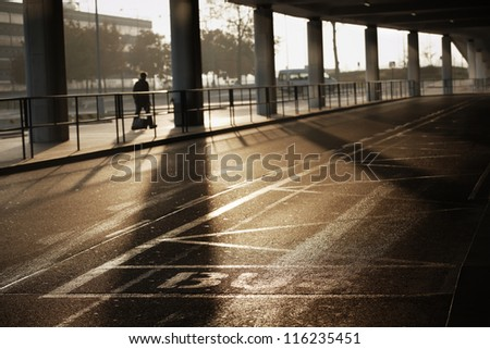 Bus station at the Vaclav Havel Airport Prague - stock photo