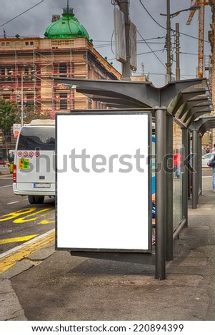 Bus station with blank billboard,dramatic and urban scene - stock photo