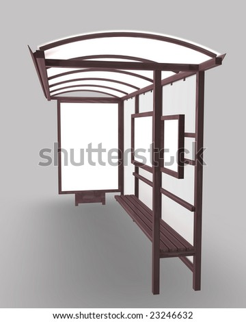 Bus stop and shelter rendered in 3D.