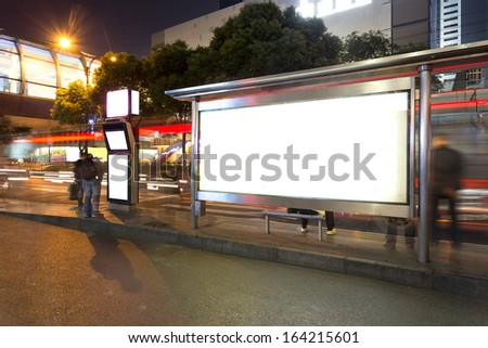 bus stop at night  - stock photo