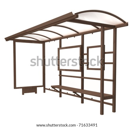 Bus stop billboard - clipping path include - stock photo