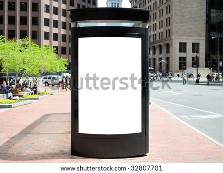 Bus Stop Billboard in the City - stock photo