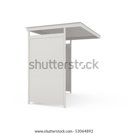 Bus stop billboard isolated on white - 3d illustration - stock photo