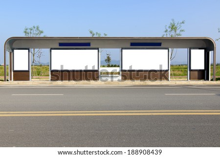 Bus stop billboards - stock photo