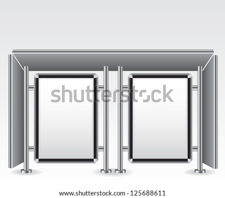 Bus stop city light billboard illustration - stock photo