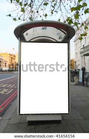 Bus stop close to Hyde Park Corner Station in central London, United Kingdom. This is for advertisers to place ad copy samples on a bus shelter. - stock photo
