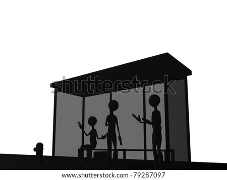 bus stop illustration isolated on white background - stock photo