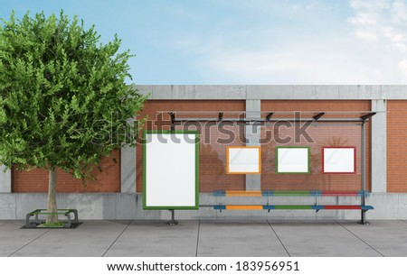 Bus stop in a urban street with blank  billboards - rendering - stock photo