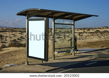 bus stop in desert