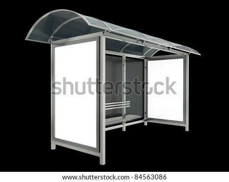 Bus stop isolated on black background. 3D render