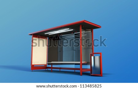 bus stop isolated on blue background - stock photo