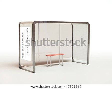 Bus stop isolated on white with clipping path - stock photo