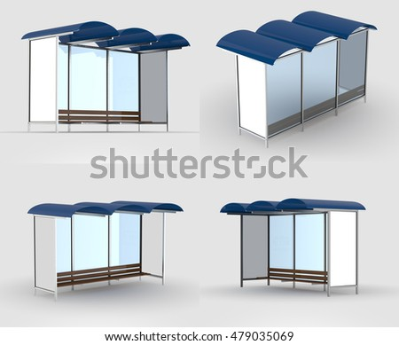 Bus stop isolated with shadow. 3D illustration.