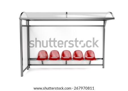 Bus stop on white background - stock photo