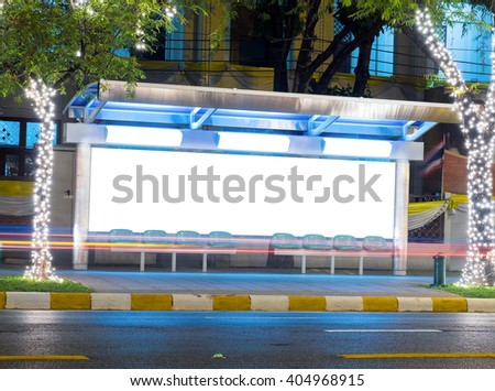 bus stop with a blank bilboard for advertising purpose - stock photo
