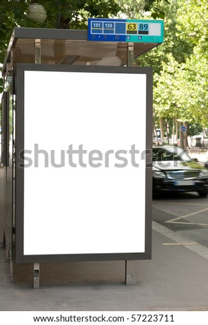 Bus stop with advertising board - stock photo