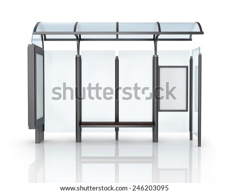 Bus stop with banner. - stock photo
