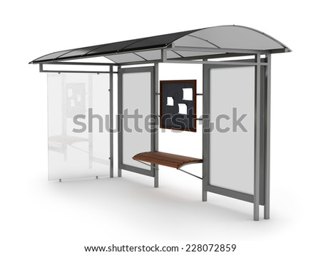 Bus stop with blank banners isolated on white background - stock photo
