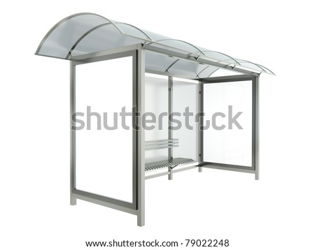 Bus stop with blank banners isolated on white background. 3D render. - stock photo
