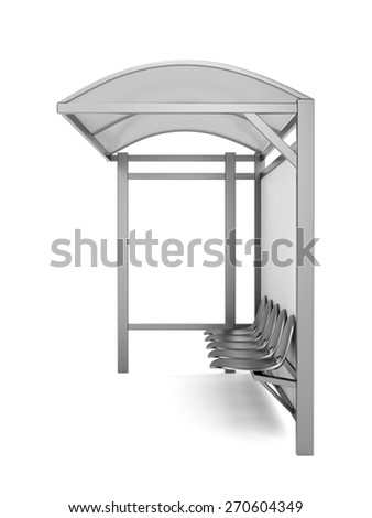 Bus stop with blank billboard - stock photo