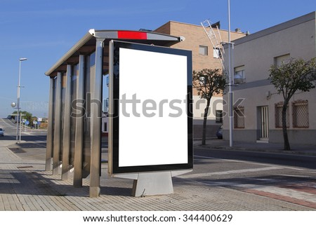 Bus stop with blank billboard for advertisement, in a residential zone