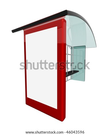 Bus stop with blank billboard space - stock photo
