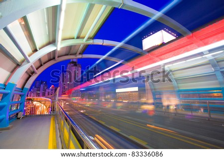 bus through station with blur light