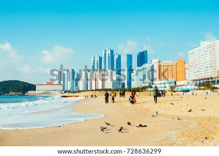 Busan, Korea - January 6, 2015 : Haeundae beach and modern buildings
