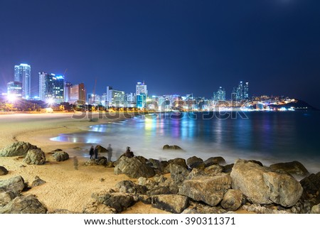 Busan, Korea - January 21, 2016: Night view of Haeundae beach. Haeundae beach is Busan's most popular beach because of its easy access from downtown of Busan and the beautiful beach. - stock photo