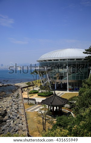 Busan, Korea - May 27, 2016: The Nurimaru APEC is located on Dongbaekseom island and built for the 2nd APEC Leaders' meeting in 2005