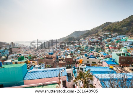BUSAN, SOUTH KOREA - FEBUARY 26, 2015: Gamcheon Culture Village, In 2009 Ministry of Culture, Sports, and Tourism in South Korea launched a project to model the village into a creative community. - stock photo