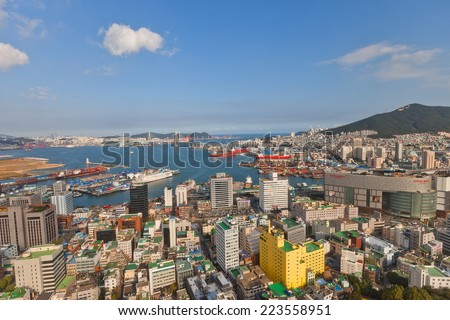 BUSAN, SOUTH KOREA - SEPTEMBER 25, 2014:  View of Busan city and port from Busan Tower