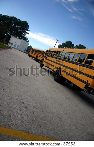 Buses at the school waiting for the kids to get on