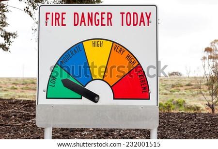bush fire danger sign - stock photo