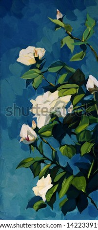 bush of white roses in the night dark blue sky, painting, illustration - stock photo