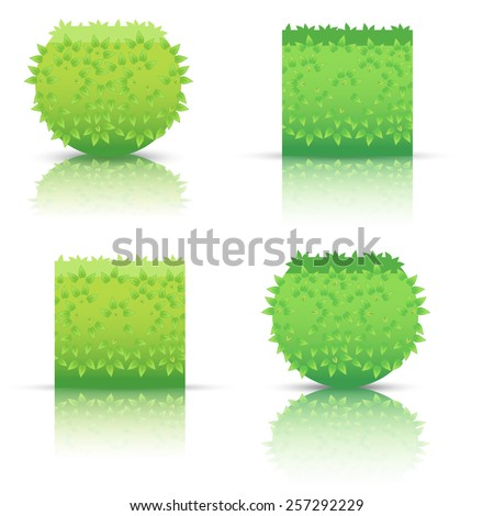 Bushes icons different colors-03 - stock photo