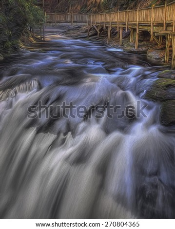 Bushkill Falls in Pennsylvania Showing Wood Walkway - stock photo
