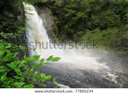 Bushkill waterfall with full spring water in Poconos , PA - stock photo