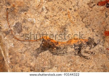 Bushmen rock painting depicting a predator (leopard), South Africa - stock photo