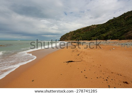 Bushy Beach scenic reserve, Oamaru, Otago,New Zealand  - stock photo
