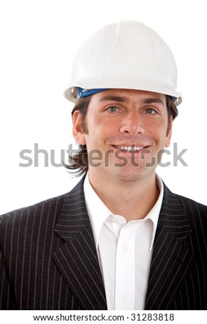 Busines man with a construction helmet isolated