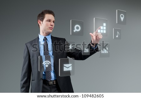 Businesman pushing button. Young man touching interface. Pressing technology. Future push interface collection. - stock photo