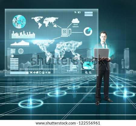 businesman standing in interface world with notebook - stock photo