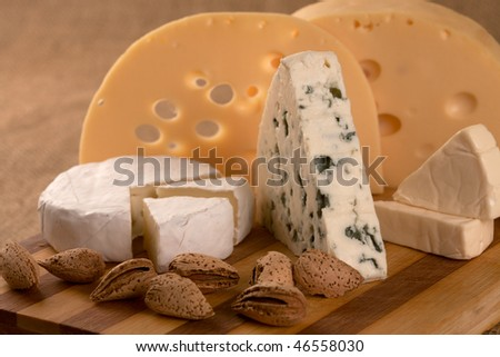 Business a still-life from classical samples of cheese. - stock photo