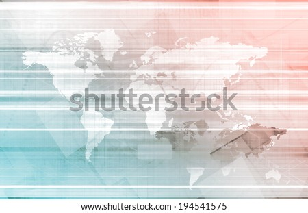 Business Abstract with World Map as Art - stock photo